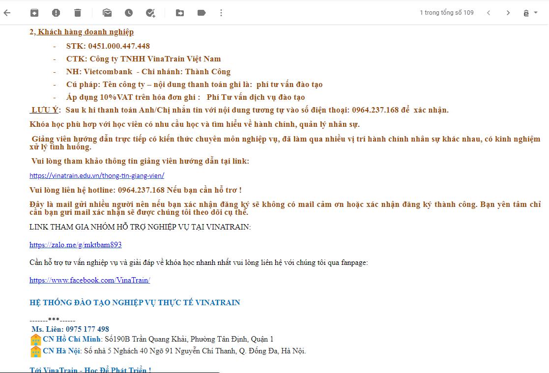 Nội dung Email Vinatrain gửi cho học viên (Nguồn: VinaTrain)